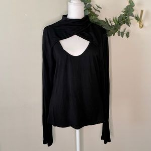 Shein Black High Neck/open cleavage Long Sleeve